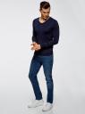 Пуловер базовый из вискозы с V-образным вырезом oodji #SECTION_NAME# (синий), 4L212140M/39795N/7900N - вид 6