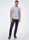 Рубашка принтованная с двойным воротником oodji #SECTION_NAME# (синий), 3L210053M/44425N/1075G - вид 6