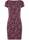 Платье трикотажное с принтом oodji #SECTION_NAME# (красный), 14001117-2/16564/4941E