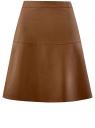 Юбка-колокол из искусственной кожи oodji #SECTION_NAME# (коричневый), 28H00002/42008/3700N