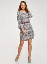 Платье вискозное с ремнем oodji #SECTION_NAME# (синий), 11900180B/42540/7933O - вид 6