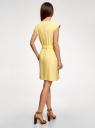 Платье льняное с коротким цельнокроеным рукавом  oodji для женщины (желтый), 12C13012/16009/5200N