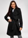 Пальто без застежки с поясом oodji #SECTION_NAME# (черный), 10104042-1/47736/2900N - вид 2