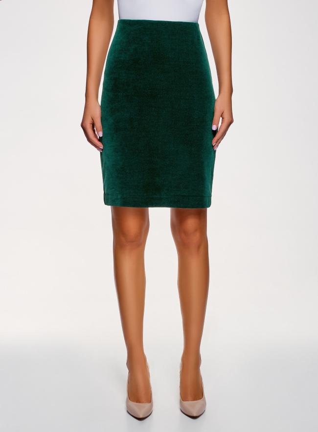 Юбка бархатная прямого силуэта oodji для женщины (зеленый), 14101102-1B/48470/6900N