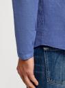 Рубашка льняная без воротника oodji #SECTION_NAME# (синий), 3B320002M/21155N/7500N - вид 5