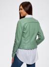 Куртка из искусственной кожи с металлическими стразами oodji #SECTION_NAME# (зеленый), 18A04010/46542/6C00N - вид 3