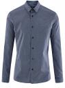 Рубашка хлопковая в мелкую графику oodji #SECTION_NAME# (синий), 3L110274M/19370N/7910G