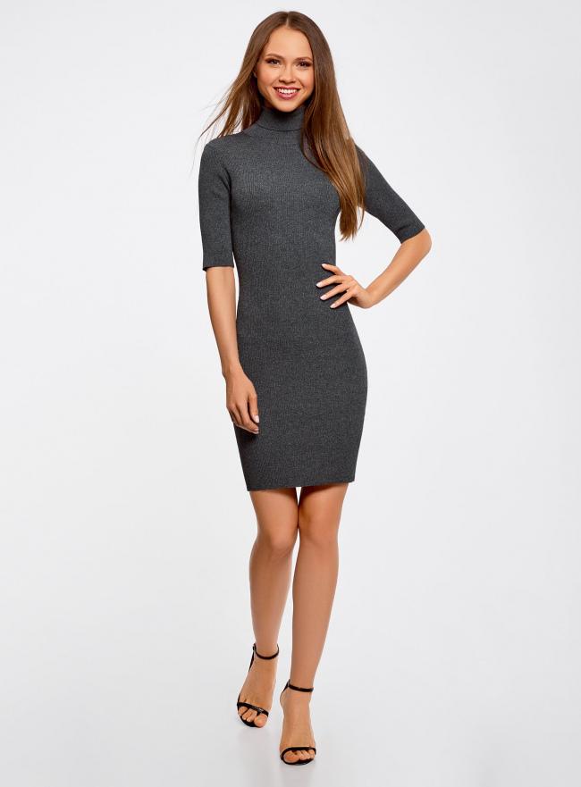 Платье вязаное с вырезом-капелькой на спине oodji для женщины (серый), 63912225/46999/2500M