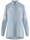Рубашка джинсовая с вышивкой oodji #SECTION_NAME# (синий), 16A09009/42706/7000P