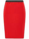 Юбка прямая на эластичном поясе oodji #SECTION_NAME# (красный), 11602177/38253/4500N