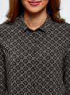 Блузка принтованная из вискозы oodji #SECTION_NAME# (серый), 11411087-1/24681/2930G - вид 4