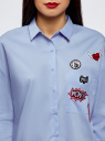 Рубашка oversize с нашивками oodji #SECTION_NAME# (синий), 13K11004/42785/7000N - вид 4