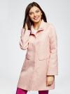 Пальто прямого силуэта из фактурной ткани oodji #SECTION_NAME# (розовый), 10104043/43312/5400N - вид 2