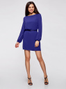 Платье из шифона с ремнем oodji #SECTION_NAME# (синий), 11900150-5B/32823/7500N - вид 2
