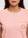 Футболка прямого силуэта с вышивкой oodji #SECTION_NAME# (розовый), 14701090/46161/4000P - вид 4