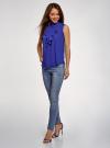 Топ из струящейся ткани с жабо oodji для женщины (синий), 24911001-1B/48854/7501N - вид 6