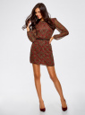 Платье из шифона с ремнем oodji для женщины (красный), 11900150-5/13632/4533E