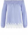 Блузка хлопковая с кружевной отделкой oodji #SECTION_NAME# (синий), 13K24001-1/33511/7510C