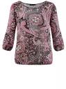 Блузка принтованная из шифона oodji #SECTION_NAME# (розовый), 21404007/15018/2341E