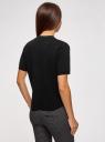 Джемпер прямого силуэта с коротким рукавом oodji #SECTION_NAME# (черный), 63812651/46096/2900N - вид 3