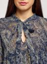 Платье шифоновое с асимметричным низом oodji #SECTION_NAME# (синий), 11913032/38375/7933E - вид 4