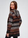 Кардиган полосатый с капюшоном oodji для женщины (коричневый), 63205244/46133/2531S