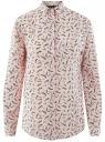 Блузка прямого силуэта с нагрудным карманом oodji для женщины (розовый), 11411134B/48853/4029O