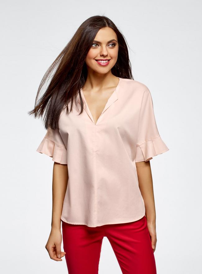 Рубашка хлопковая с V-образным вырезом oodji #SECTION_NAME# (розовый), 13K05001/33113/5400N