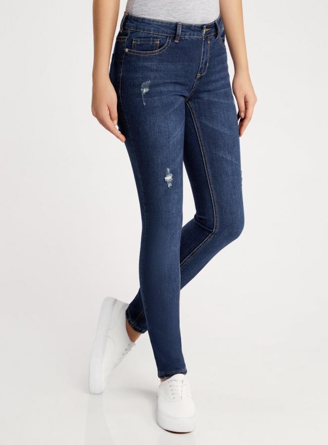Джинсы skinny с модными потертостями oodji для женщины (синий), 12103140/45869/7900W