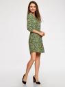Платье вискозное с рукавом 3/4 oodji #SECTION_NAME# (зеленый), 11901153-1B/42540/6A4CF - вид 6
