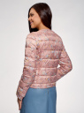 Куртка стеганая с круглым вырезом oodji #SECTION_NAME# (розовый), 10203072B/42257/4B19F - вид 3