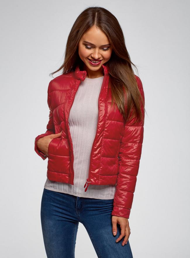 Куртка стеганая с воротником-стойкой oodji для женщины (красный), 10203038-5B/33445/4504N