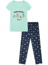 Пижама хлопковая с брюками oodji для женщины (разноцветный), 56002074-1/46158/7379P