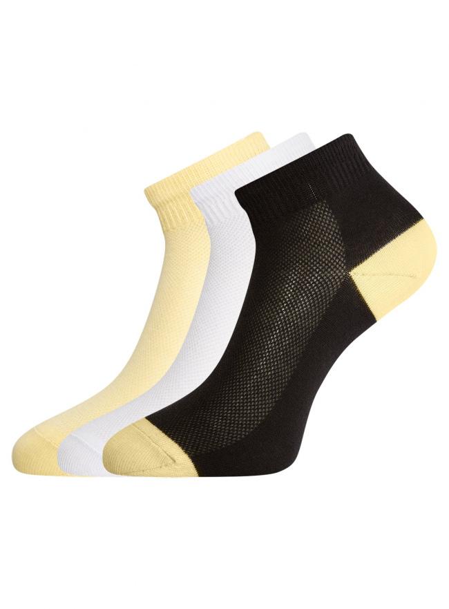 Комплект из трех пар укороченных носков oodji #SECTION_NAME# (разноцветный), 57102418-1T3/47613/9