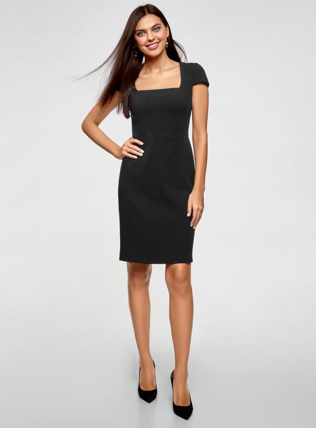 Платье-футляр из плотной ткани с квадратным вырезом oodji для женщины (черный), 21902065/31291/2900N