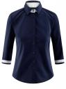 Рубашка хлопковая с рукавом 3/4 oodji #SECTION_NAME# (синий), 11403201-2/26357/7900N