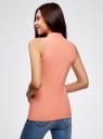 Топ хлопковый из ткани пике oodji для женщины (розовый), 19305001/46149/4300N