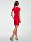 Платье трикотажное с коротким рукавом oodji для женщины (красный), 14011007/45262/4502N - вид 3