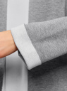Жакет вязаный с контрастными отворотами без застежки oodji #SECTION_NAME# (серый), 63212588/47063/2512B - вид 5