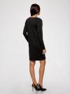 Платье трикотажное с декоративными молниями на плечах oodji #SECTION_NAME# (черный), 24007026/37809/2900N - вид 3