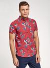 Рубашка хлопковая с короткими рукавами и нагрудным карманом oodji #SECTION_NAME# (красный), 3L410154M/49929N/4579G - вид 2