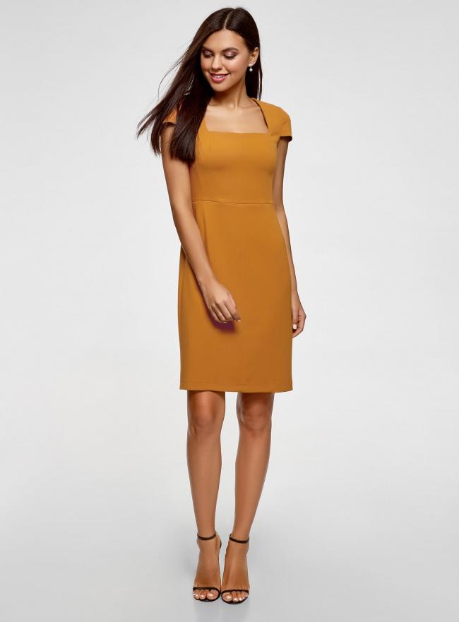 Платье-футляр из плотной ткани с квадратным вырезом oodji для женщины (желтый), 21902065/31291/5700N