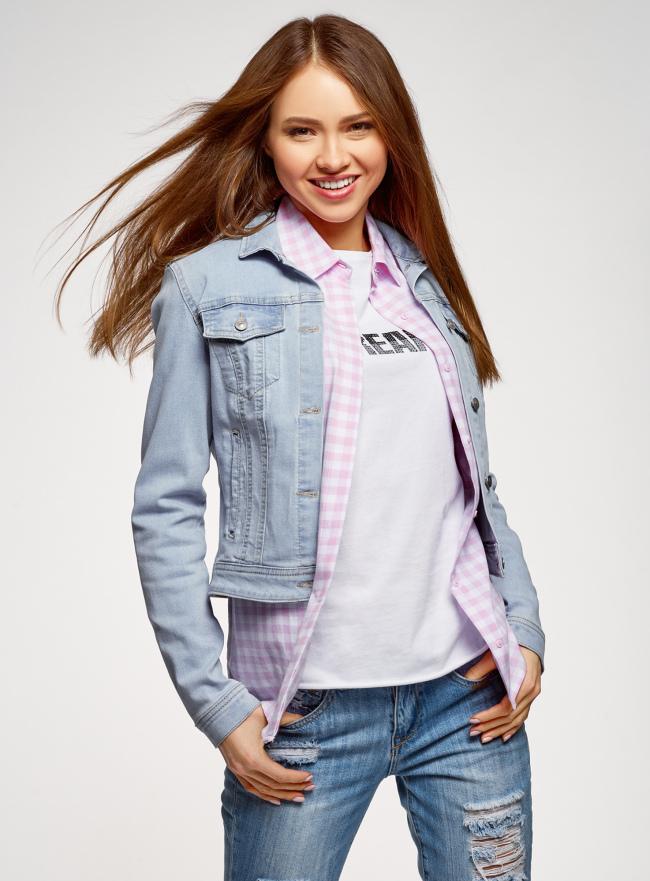 Куртка джинсовая базовая oodji для женщины (синий), 11109030/46734/7000W