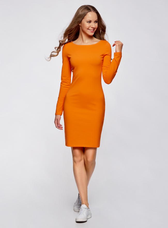 Платье трикотажное облегающего силуэта oodji для женщины (оранжевый), 14001183B/46148/5500N