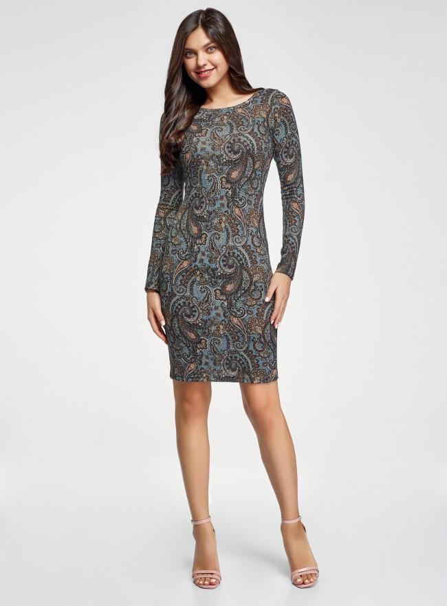 Платье трикотажное с этническим принтом oodji #SECTION_NAME# (синий), 24001070-4/15640/2537E