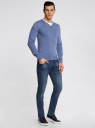 Пуловер с хлопковой вставкой на груди oodji #SECTION_NAME# (синий), 4B212006M/39245N/7410B - вид 6