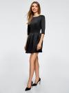 Платье трикотажное со складками на юбке oodji #SECTION_NAME# (черный), 14001148-1/33735/2900N - вид 6