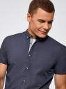 Рубашка приталенная с мелкой графикой oodji #SECTION_NAME# (синий), 3L410114M/48244N/7975G - вид 4