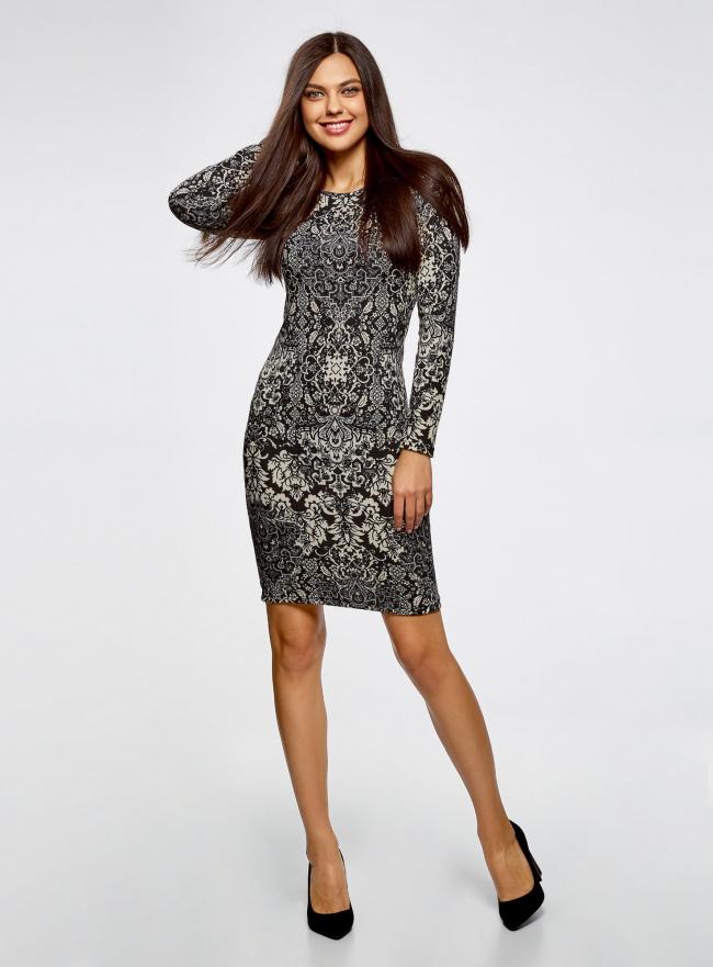 Платье трикотажное с этническим принтом oodji #SECTION_NAME# (черный), 24001070-4/15640/2933E
