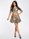 Платье трикотажное принтованное oodji #SECTION_NAME# (разноцветный), 14001150-3/33038/3375F - вид 2